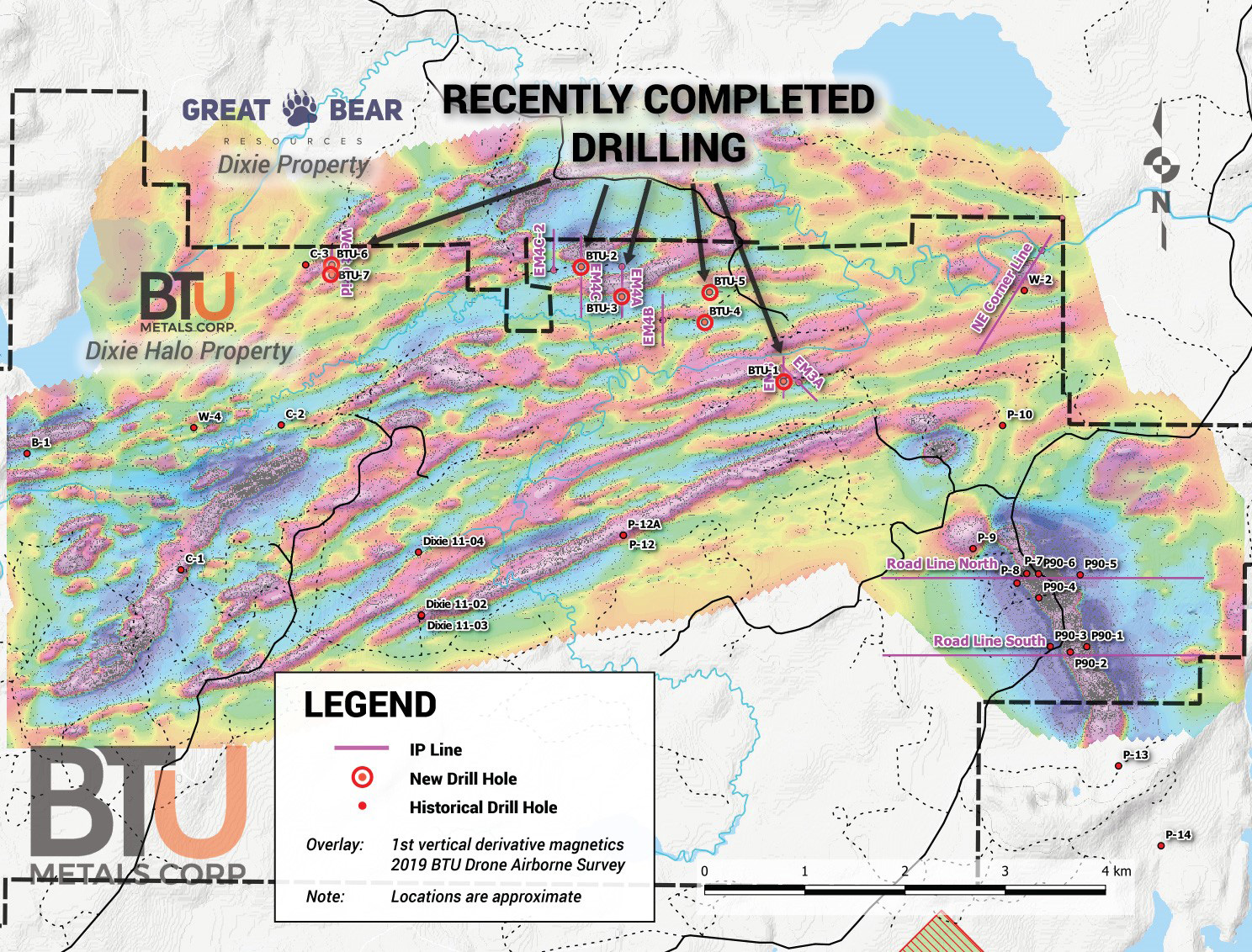 BTU Metals - A map showing IP lines and recently completed drill holes