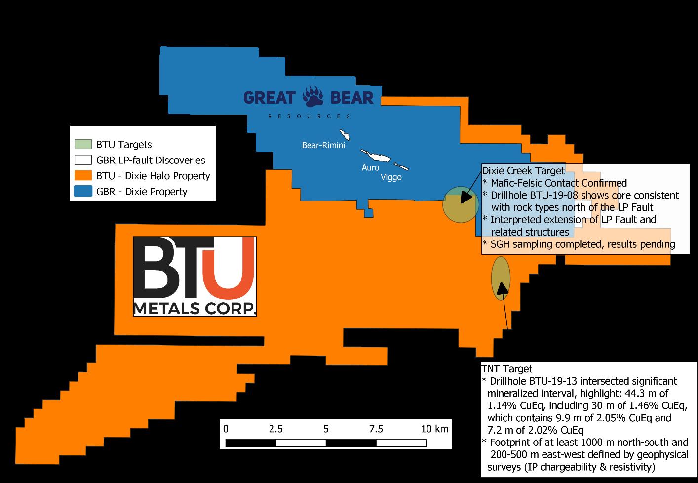 BTU Metals' Dixie Halo Property Map