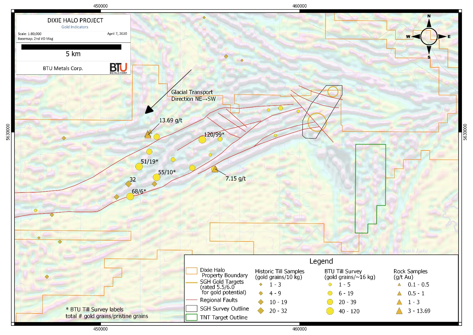 Figure 1: Surface indications of gold mineralization across BTU Metals' Dixie Halo Property