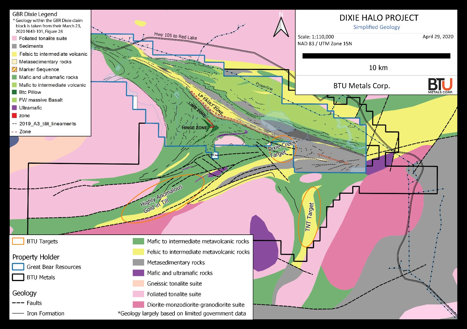 Figure 1: Geological map of BTU Metals' Dixie Halo property and Great Bear Resources' Dixie property
